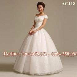 Áo cưới cổ chữ V AC118