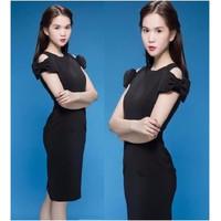 HÀNG NHẬP CAO CẤP - Đầm body công sở nơ vai cách điệu