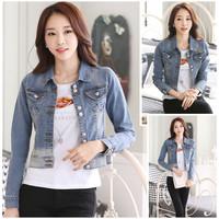 Áo Khoác Jeans Nữ Nút Đôi WAK251 Xanh
