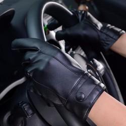 Sỉ lẻ Găng tay cảm ứng lái xe da lót lông thời trang chống nước nhẹ