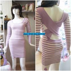 Đầm len sọc tím chéo lưng xẻ tà 2 lớp