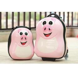 Bộ vali kéo cuties heo hồng Push nhựa ABS