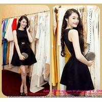 Shop đầm xòe : Đầm xòe đen sát nách dễ thương như Linh Chi DXV119