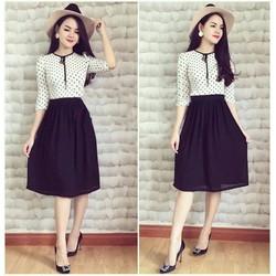 Đầm  Xòe Chấm Bi Phối chân Váy Đen cực xinh