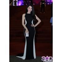 Đầm dạ hội sát nách đen phối viền trắng cá tính xinh như Linh chi