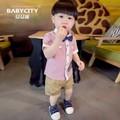 Bộ bé trai sơ mi sọc phối quần kaki cho bé