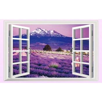 Decal Dán Tường 3D Cữa Sổ Hoa Lavender