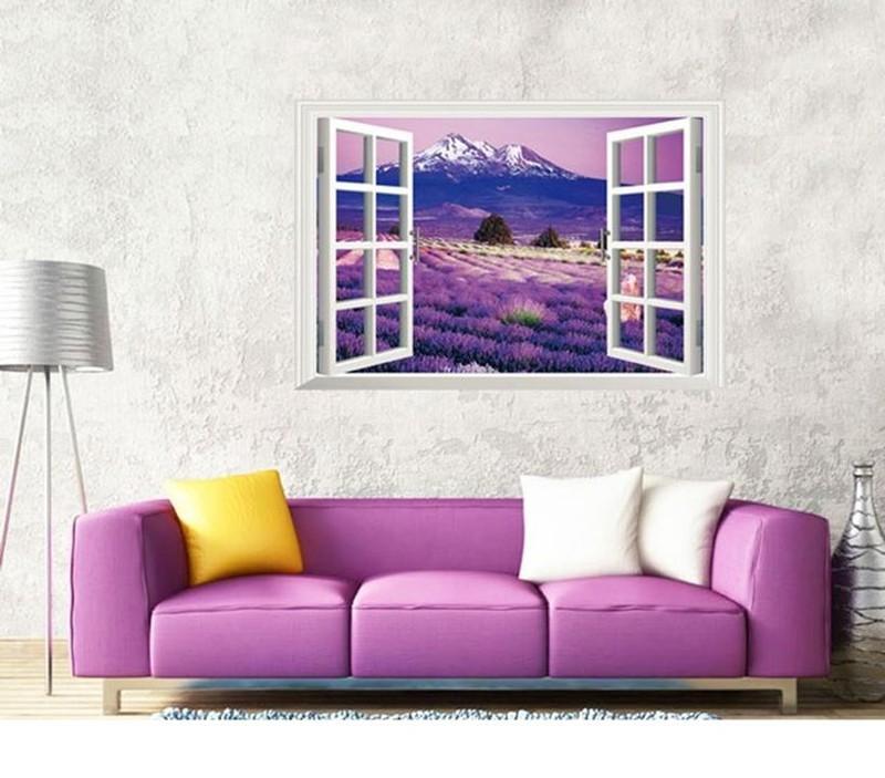 Decal Dán Tường 3D Cữa Sổ Hoa Lavender 4