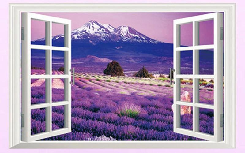Decal Dán Tường 3D Cữa Sổ Hoa Lavender 1
