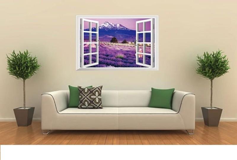 Decal Dán Tường 3D Cữa Sổ Hoa Lavender 2
