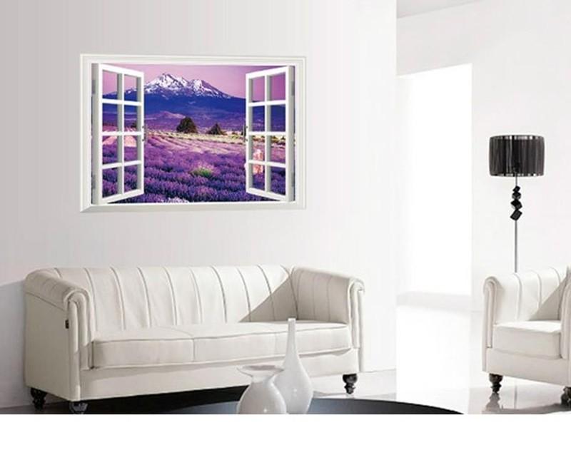 Decal Dán Tường 3D Cữa Sổ Hoa Lavender 6