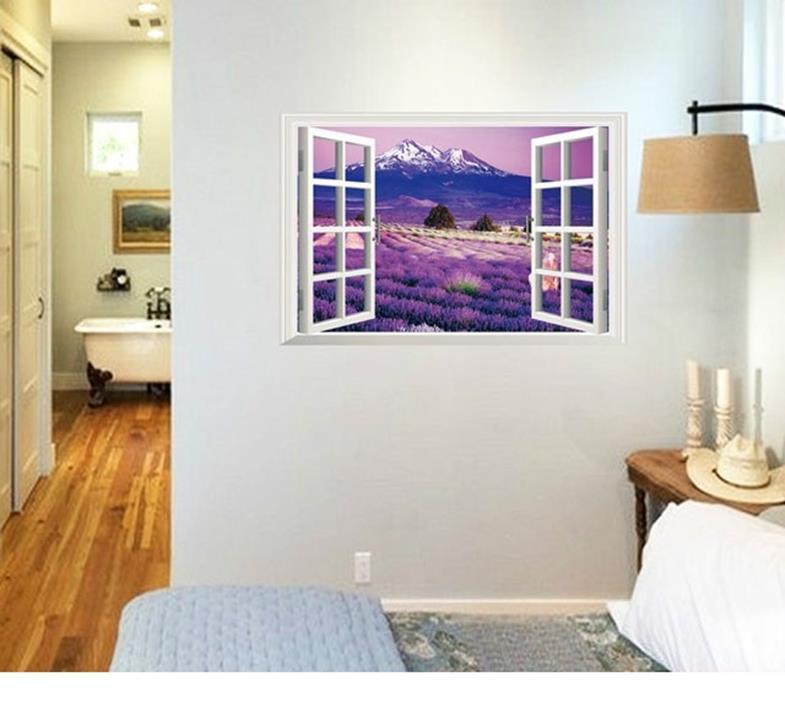 Decal Dán Tường 3D Cữa Sổ Hoa Lavender 3