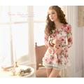 HÀNG NHẬP QUẢNG CHÂU CAO CẤP:Áo váy voan họa tiết hoa hồng DQC23T