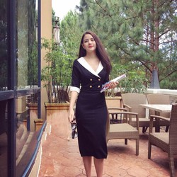 Đầm Công Sở Cổ Giả Vest Phối Trắng BT2560