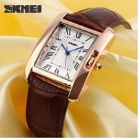 Đồng hồ chống nước Skmei, vỏ vàng hồng, dây da thật