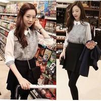 Áo sơ mi nữ dài tay,phối ghép độc đáo, thời trang Hàn Quốc-A2955