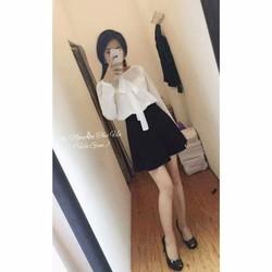 Sét chân váy xòe+áo tay dài
