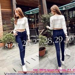 Quần jean dài lưng cao 1 nút rách gối thời trang QD180