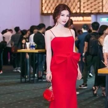 Đầm dạ hội maxi 2 dây thiết kế nơ to xinh đẹp DDH162