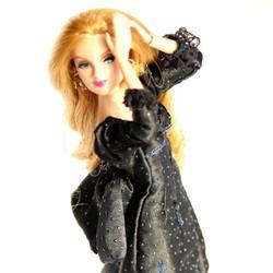 Váy dạ hội đen huyền bí cho búp bê