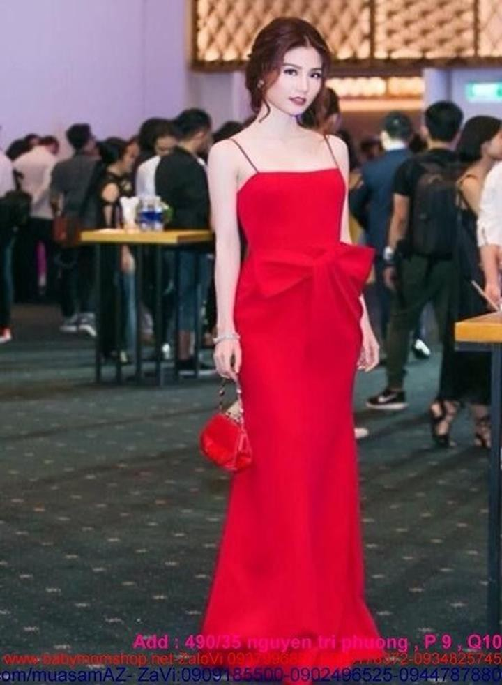 Đầm dạ hội maxi 2 dây thiết kế nơ to xinh đẹp DDH162 1