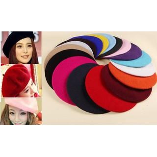 Nón len, nón nỉ, mũ nồi, mũ beret lông xù - A180 thumbnail