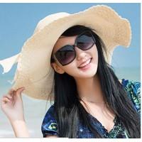 nón mũ rộng vành cói thời trang gấp gọn đi biển