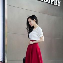 Chân váy xòe selena vintage - màu đỏ đô