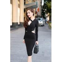 Đầm body đen tay dài D349