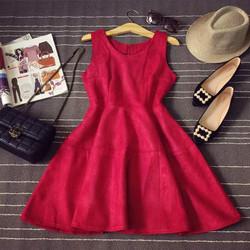 Đầm xòe da lộn cao cấp Hàng Quảng Châu