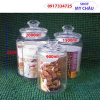 Combo 3 Hũ Thủy Tinh size Lớn, Đựng Gia Vị - Ngâm Củ Quả - Bánh Kẹo