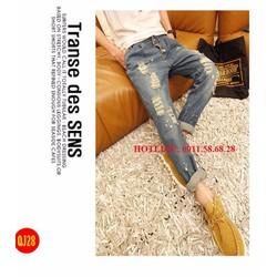 Quần Jean nam thời trang Hàn Quốc ống rách nút cài cực chất - QJ28