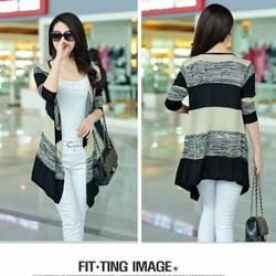 Áo cardigan dệt kim nữ dài tay,phối màu trẻ trung,phong cách Hàn Quốc.