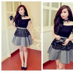 ED786 Đầm thiết kế ren đen bẹt vai caro giống bella