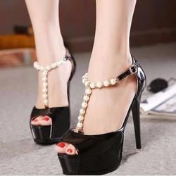 Giày cao gót nữ vòng ngọc trai