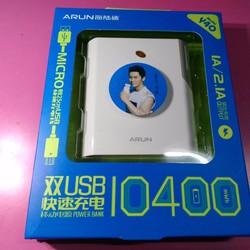 Pin dự phòng 10400mA chính hãng Arun BH 6 tháng,2 cổng USB