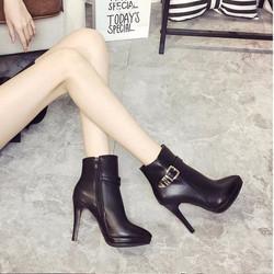 Giày bốt nữ cao gót cổ thấp phong cách Hàn Quốc B026