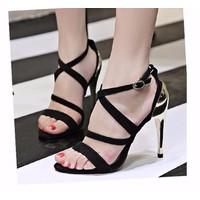 Giày sandal cao gót gót kim loại