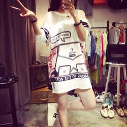 Đầm nữ tay dài thời trang,họa tiết nổi bật, phong cách Hàn Quốc