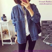 Áo khoác jean nữ cổ trụ form rộng đơn giản sành điệu tAKE79