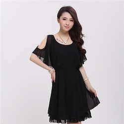 Đầm voan nữ hở vai, trơn màu trẻ trung, phong cách xuân hè