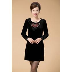 DM46 - HÀNG NHẬP ĐÀI LOAN - Đầm nhung kèm áo choàng kết hoa XL~4XL