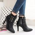 Giày boot nữ cao gót, cổ ngắn khóa kéo bên BT218D - Doni86