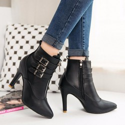 Giày boot nữ cao gót cổ ngắn khóa kéo bên BT218D - Doni86
