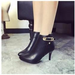 Giày boot nữ cao gót cổ ngắn, khóa kéo phá cách BT216D - Doni86