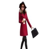 Áo khoác dạ form dài cổ lông cho nàng ấm áp và sành điệu AKMT46