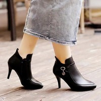 B027 - Giày Boot Da Nữ Cổ Ngắn Cao Cấp