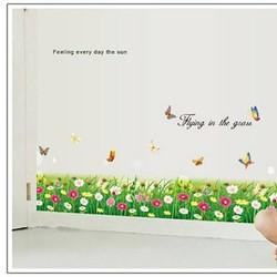 Decal dán tường chân tường hoa cúc