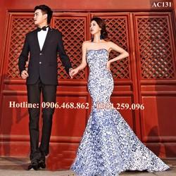 Váy cưới đuôi cá họa tiết cao cấp 131