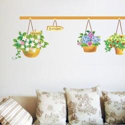 Decal dán tường Ba chậu hoa xinh